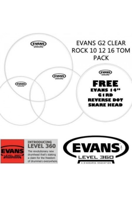 "PARCHES TOM PACK EVANS G2 CLEAR 10"", 12"", 16"" Y CAJA 14"" REVERSE DOT"